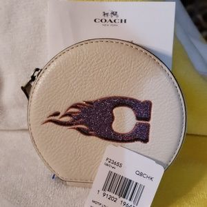 SOLD Coach Motif leather round coin case